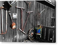 Barn Art No.3 - Color On Black And White Acrylic Print by Janice Adomeit