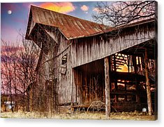 Barn At Sunset Acrylic Print by Brett Engle