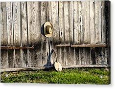 Barn Door And Banjo Mandolin Acrylic Print by Bill Cannon