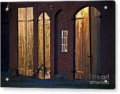 Barn Door Lighting Acrylic Print by Heiko Koehrer-Wagner