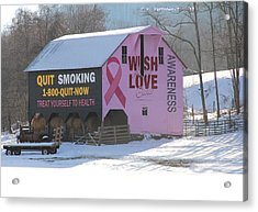 Barn For The Cure Acrylic Print by Carolyn Postelwait
