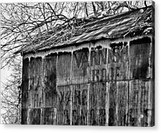 Acrylic Print featuring the photograph Barn Ghost Sign In Bw by Greg Jackson