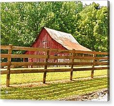 Barn In A Fence Acrylic Print