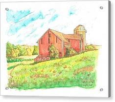 Barn In Cornfield, Wisconsin Acrylic Print