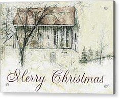 Barn In Snow Christmas Card Acrylic Print