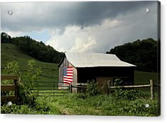 Barn In The Usa Acrylic Print by Karen Wiles