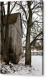 Barn In Winter Acrylic Print by Donald Fink