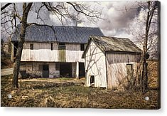 Barn Near Utica Mills Covered Bridge Acrylic Print by Joan Carroll