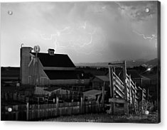 Barn On The Farm And Lightning Thunderstorm Bw Acrylic Print by James BO  Insogna