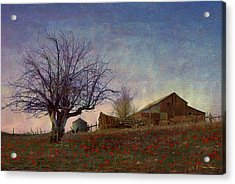Barn On The Hill - Big Sky Acrylic Print by R christopher Vest