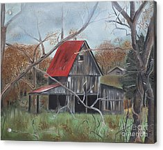 Acrylic Print featuring the painting Barn - Red Roof - Autumn by Jan Dappen