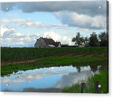 Barn Reflected In Pond  Acrylic Print by Karen Molenaar Terrell