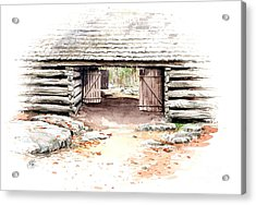 Acrylic Print featuring the painting Barn Stalls by Bob  George
