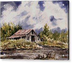 Barn Under Puffy Clouds Acrylic Print