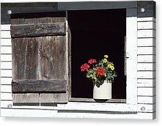 Acrylic Print featuring the photograph Barn Window Flowers by Alan L Graham