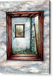 Barn Window Peering Through Time Acrylic Print by Janine Riley