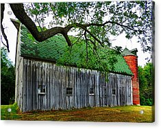 Barn With Brick Silo Acrylic Print