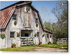Barn With Flowers Acrylic Print by Terry Ellis