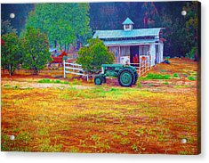 Barn With Horses And Oliver Tractor Acrylic Print