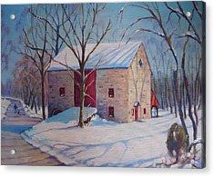 Barn With The Red Door Acrylic Print by Bonita Waitl