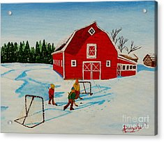 Barn Yard Hockey Acrylic Print by Anthony Dunphy
