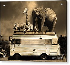 Barnum And Bailey Goes On A Road Trip 5d22705 Sepia Acrylic Print