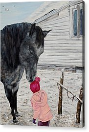 Barnyard Kiss Acrylic Print by Marilyn  McNish