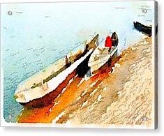 Barques Sur Le Chari Acrylic Print