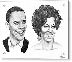 Barrack And Michelle Obama Acrylic Print by Murphy Elliott