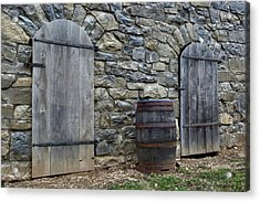 Acrylic Print featuring the photograph Barrel And Barn Doors by Gene Walls