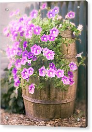 Acrylic Print featuring the photograph Barrel Of Flowers - Floral Arrangements by Gary Heller