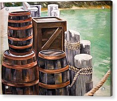 Barrels On The Pier Acrylic Print