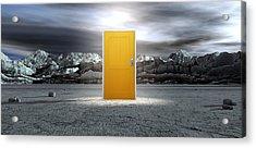 Barren Lanscape With Closed Yellow Door Acrylic Print