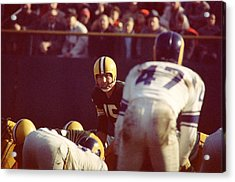 Bart Starr Calls Play Acrylic Print by Retro Images Archive