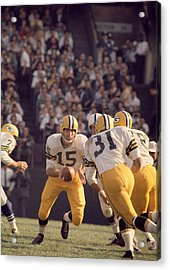 Bart Starr Hands Off To Jim Taylor Acrylic Print by Retro Images Archive