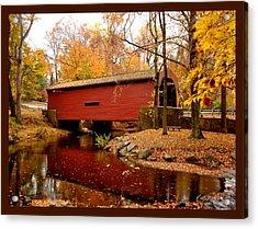 Bartram's Covered Bridge With Border Acrylic Print