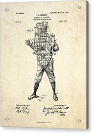 1904 Base Ball Catcher Patent Art Acrylic Print by Gary Bodnar