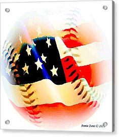 Baseball And American Flag Acrylic Print by Annie Zeno