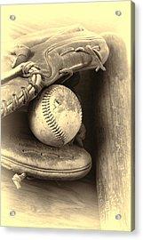 Baseball And Baseball Bat Acrylic Print by Dan Sproul