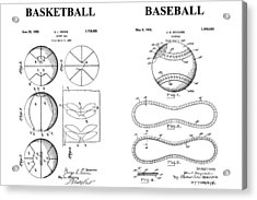 Baseball And Basketball Patent Drawing Acrylic Print by Dan Sproul