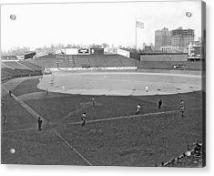 Baseball At Yankee Stadium Acrylic Print by Underwood Archives