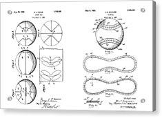 Baseball Basketball Patent Illustration Acrylic Print by Dan Sproul