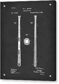 Baseball Bat 1885 Patent Art Black Acrylic Print by Prior Art Design