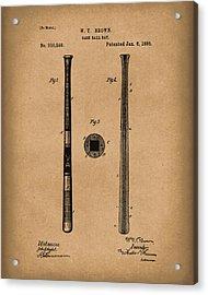 Baseball Bat 1885 Patent Art Brown Acrylic Print by Prior Art Design
