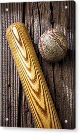 Baseball Bat And Ball Acrylic Print by Garry Gay