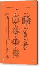 Baseball Bat Construction Patent 1974 Acrylic Print by Mountain Dreams