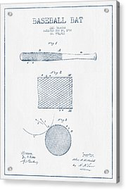 Baseball Bat Patent Drawing From 1904 - Blue Ink Acrylic Print by Aged Pixel