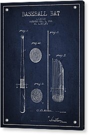 Baseball Bat Patent Drawing From 1921 Acrylic Print