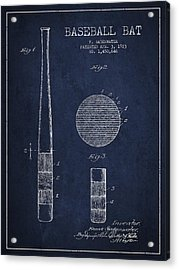 Baseball Bat Patent Drawing From 1923 Acrylic Print