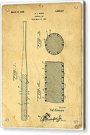 Baseball Bat Patent Acrylic Print by Edward Fielding